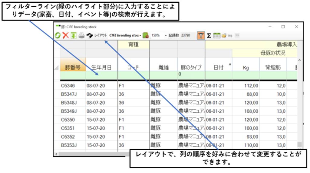 豚管理システムアグリビジョン画面
