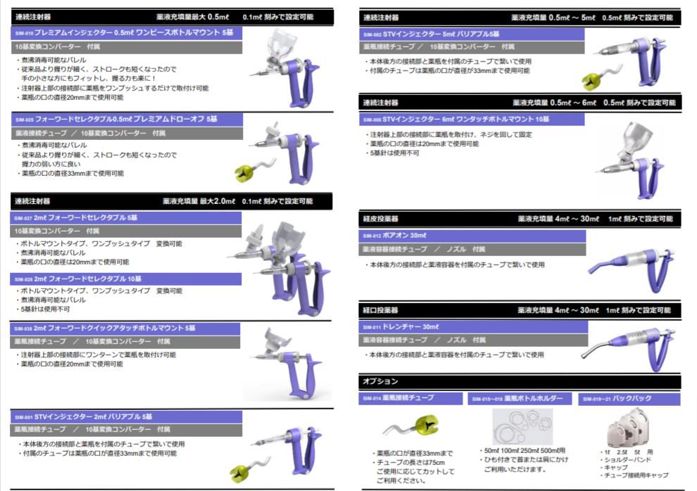 豚・牛・鶏・動物用ワクチン薬品連続投与器・注射器カタログ